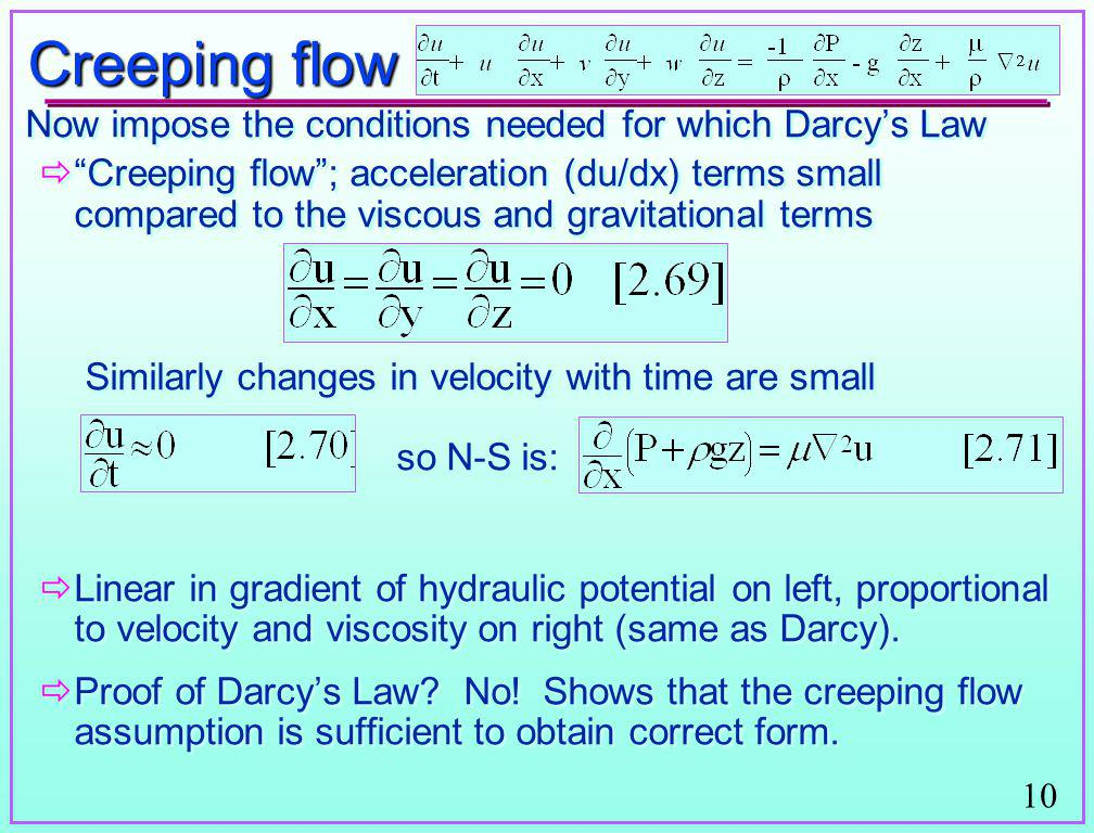 Creeping flow Now impose the conditions needed for which Darcy's Law