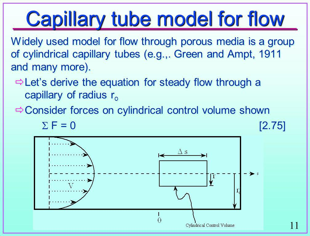 Capillary tube model for flow