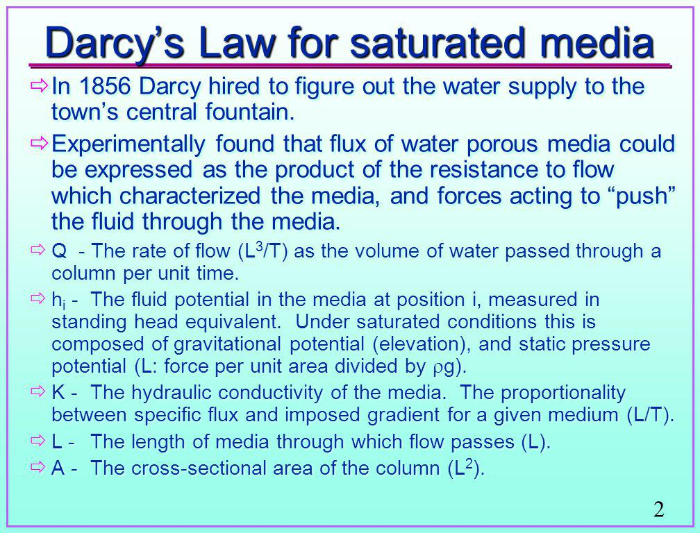 Darcy's Law for saturated media