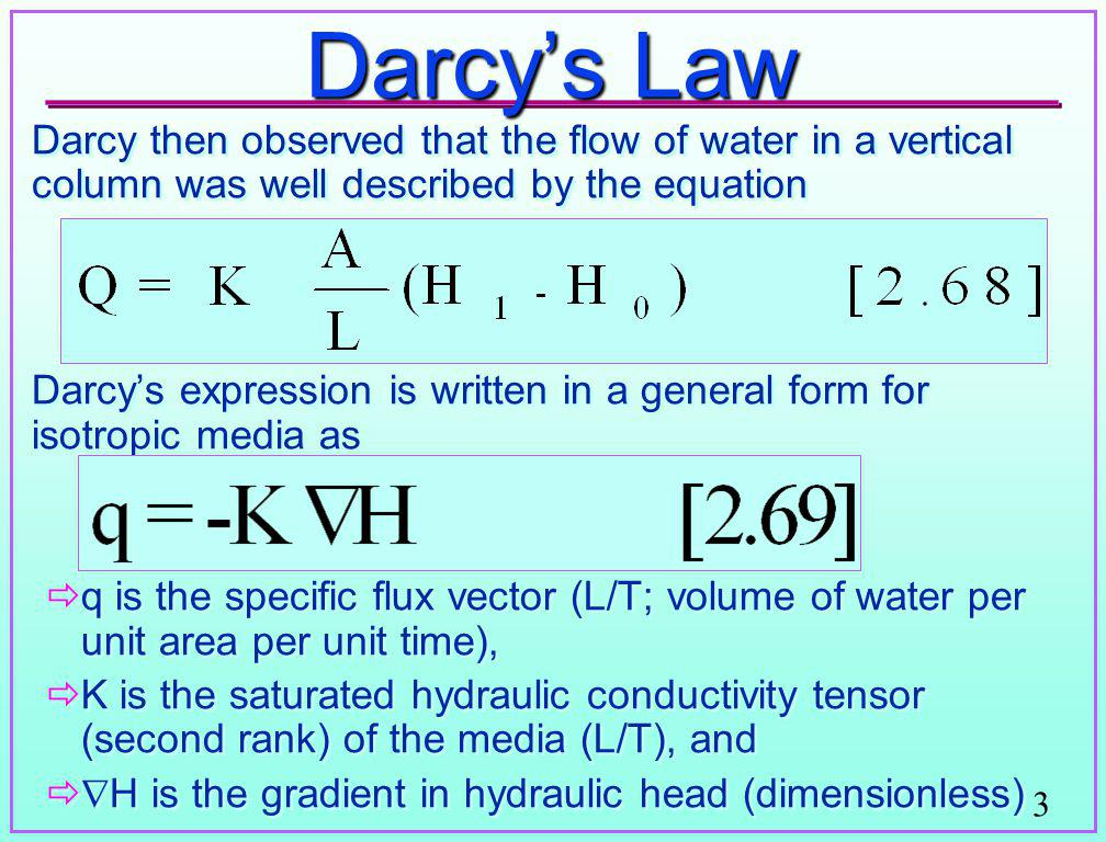 Darcy's Law Darcy then observed that the flow of water in a vertical column was well described by the equation.