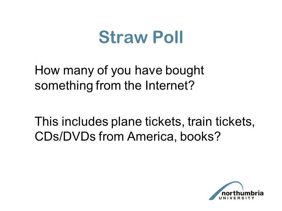 Straw Poll How many of you have bought something from the Internet