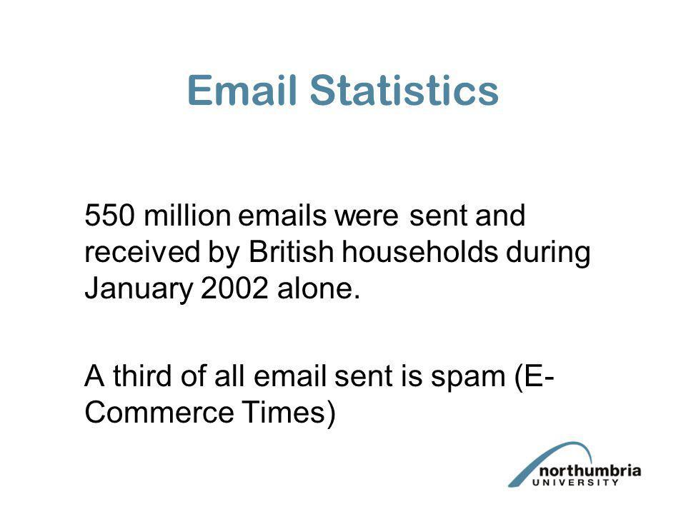 Email Statistics 550 million emails were sent and received by British households during January 2002 alone.