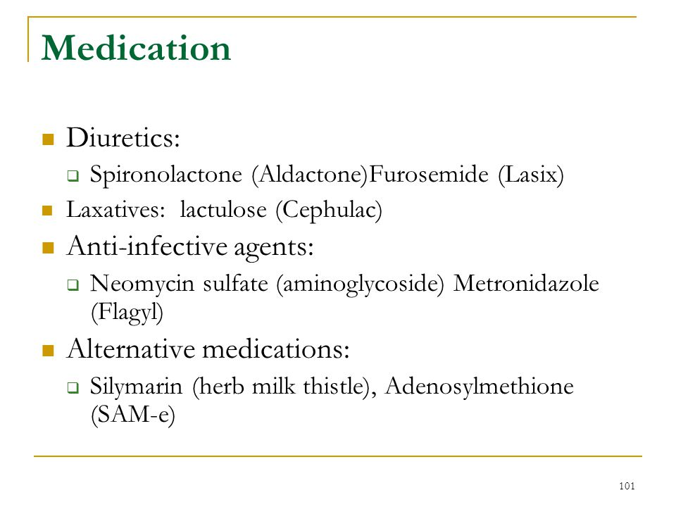 Medication Diuretics: Anti-infective agents: Alternative medications: