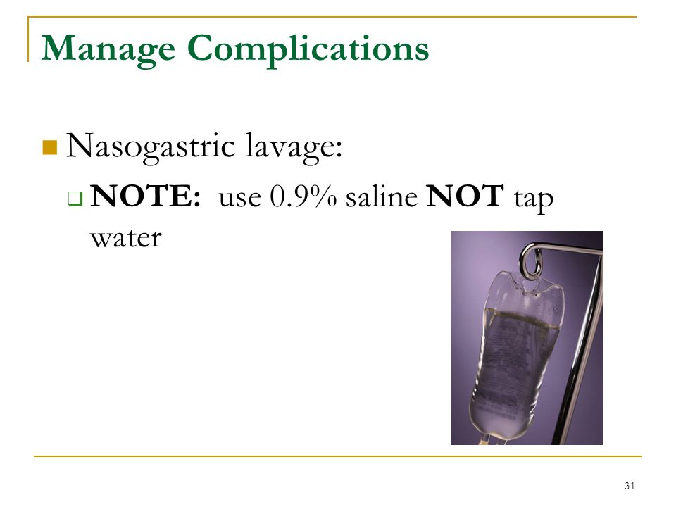 Manage Complications Nasogastric lavage: