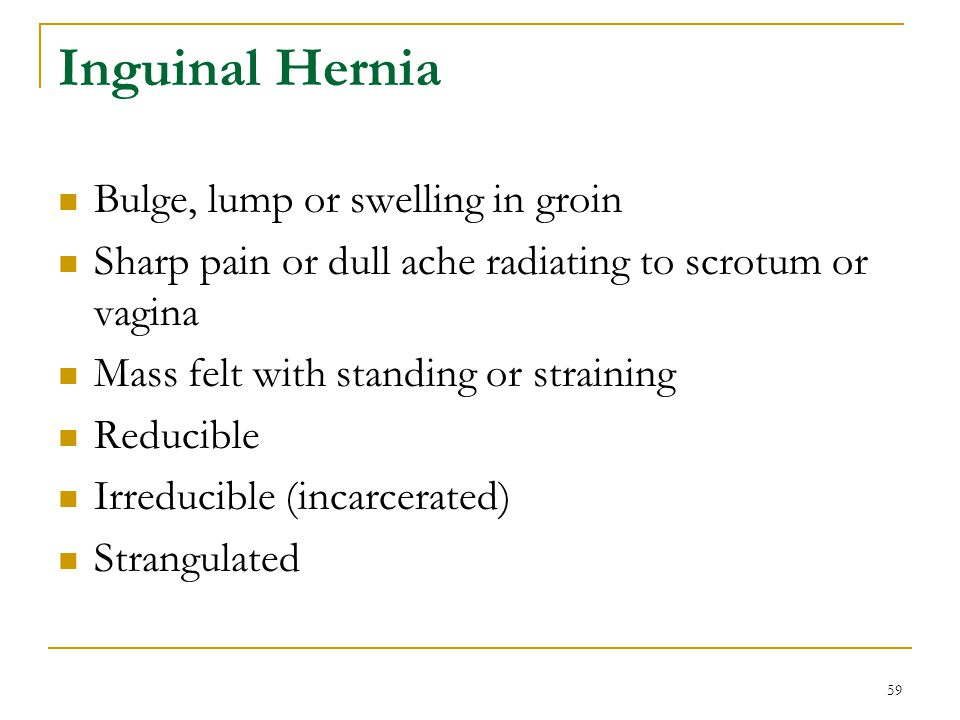 Inguinal Hernia Bulge, lump or swelling in groin