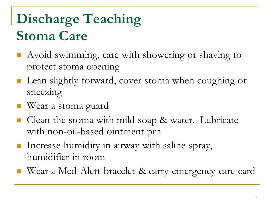 Discharge Teaching Stoma Care