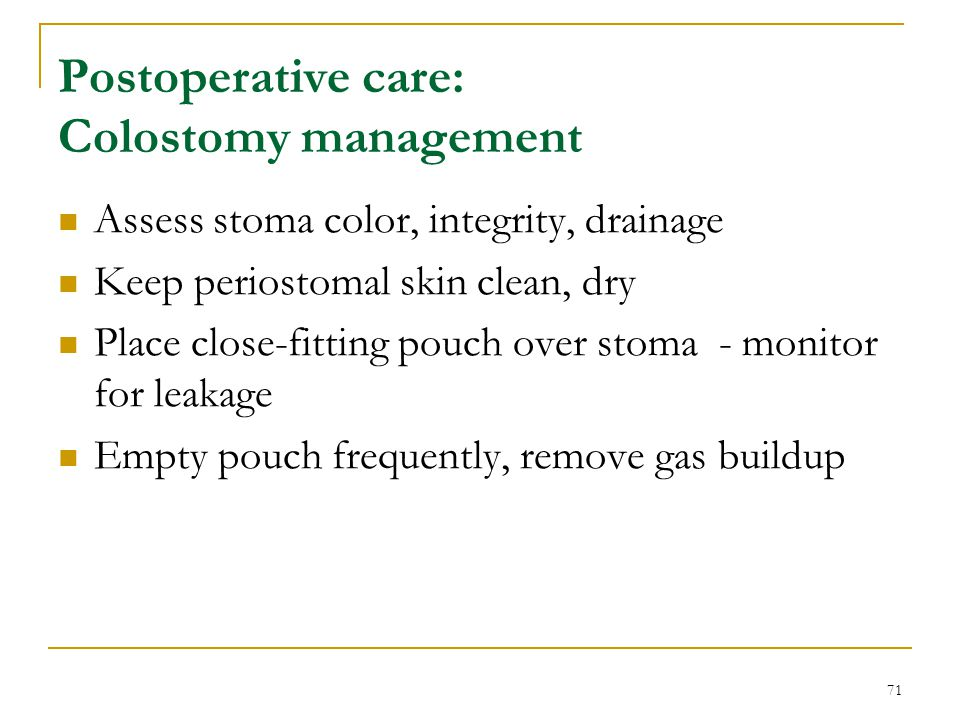 Postoperative care: Colostomy management