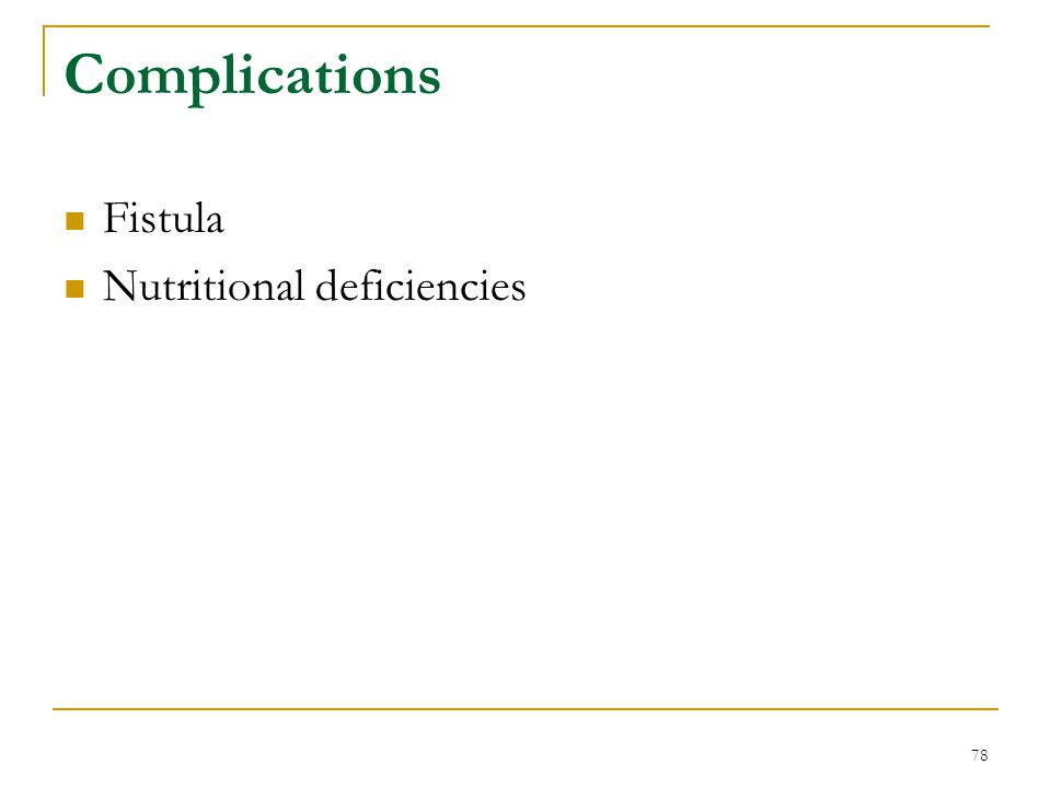 Complications Fistula Nutritional deficiencies