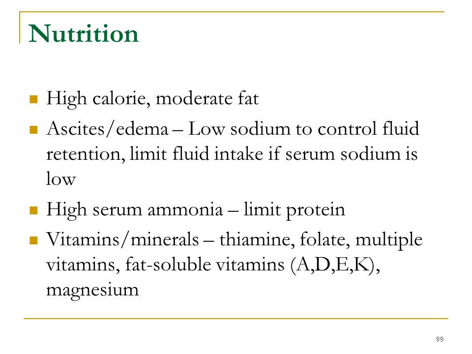 Nutrition High calorie, moderate fat