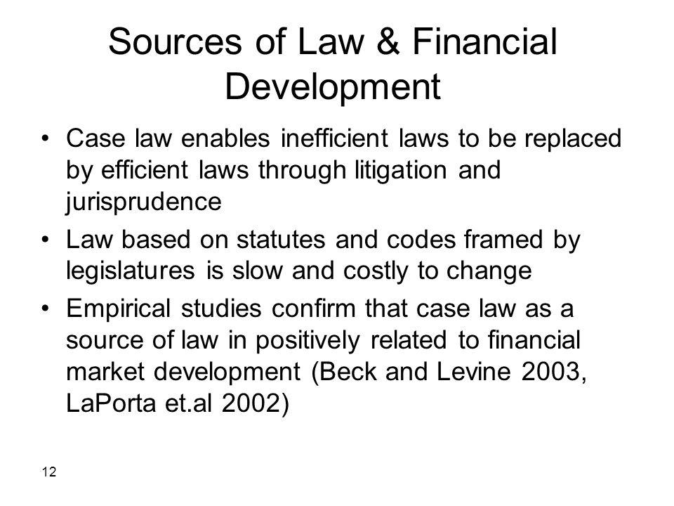 Sources of Law & Financial Development