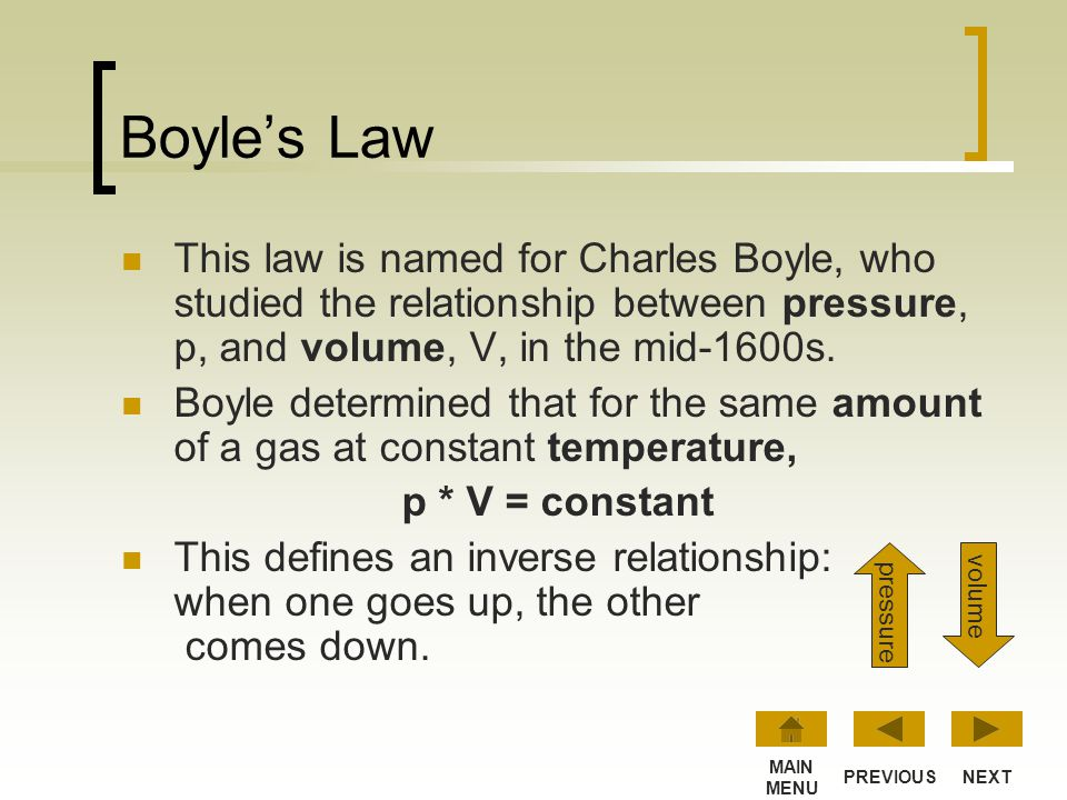 Boyle's Law This law is named for Charles Boyle, who studied the relationship between pressure, p, and volume, V, in the mid-1600s.