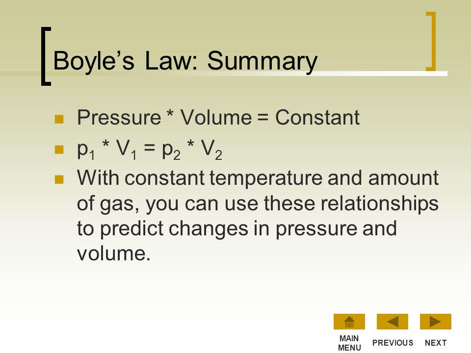 Boyle's Law: Summary Pressure * Volume = Constant p1 * V1 = p2 * V2