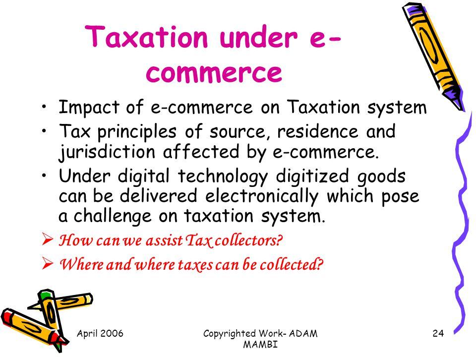 Taxation under e-commerce