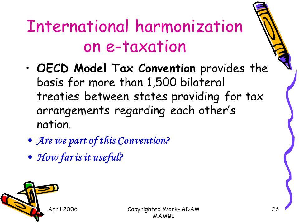 International harmonization on e-taxation