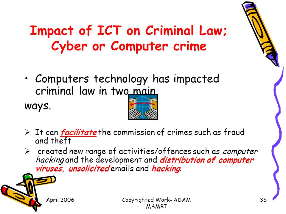 Impact of ICT on Criminal Law; Cyber or Computer crime