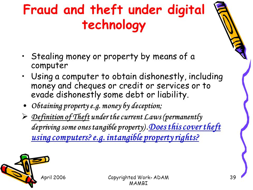 Fraud and theft under digital technology