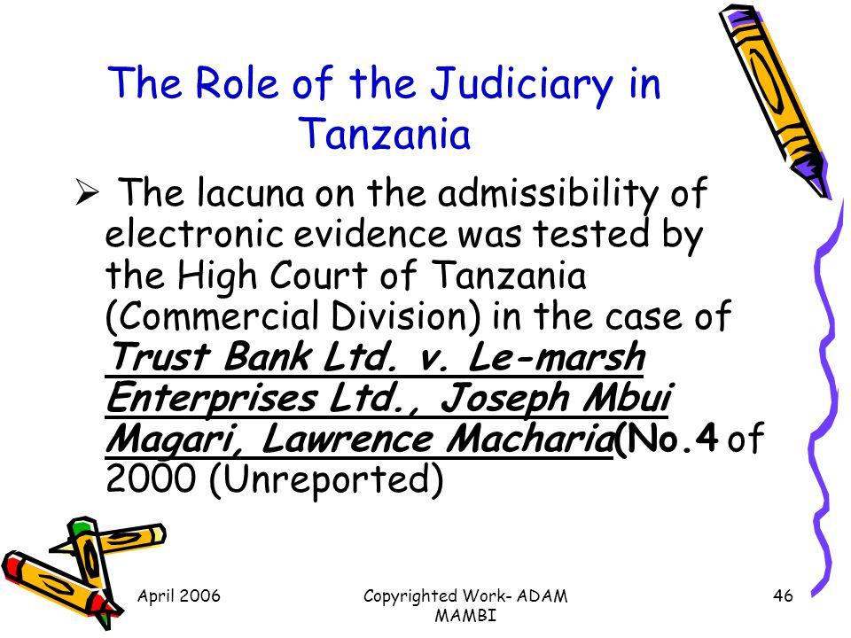 The Role of the Judiciary in Tanzania