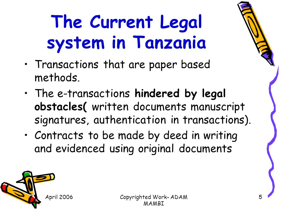 The Current Legal system in Tanzania