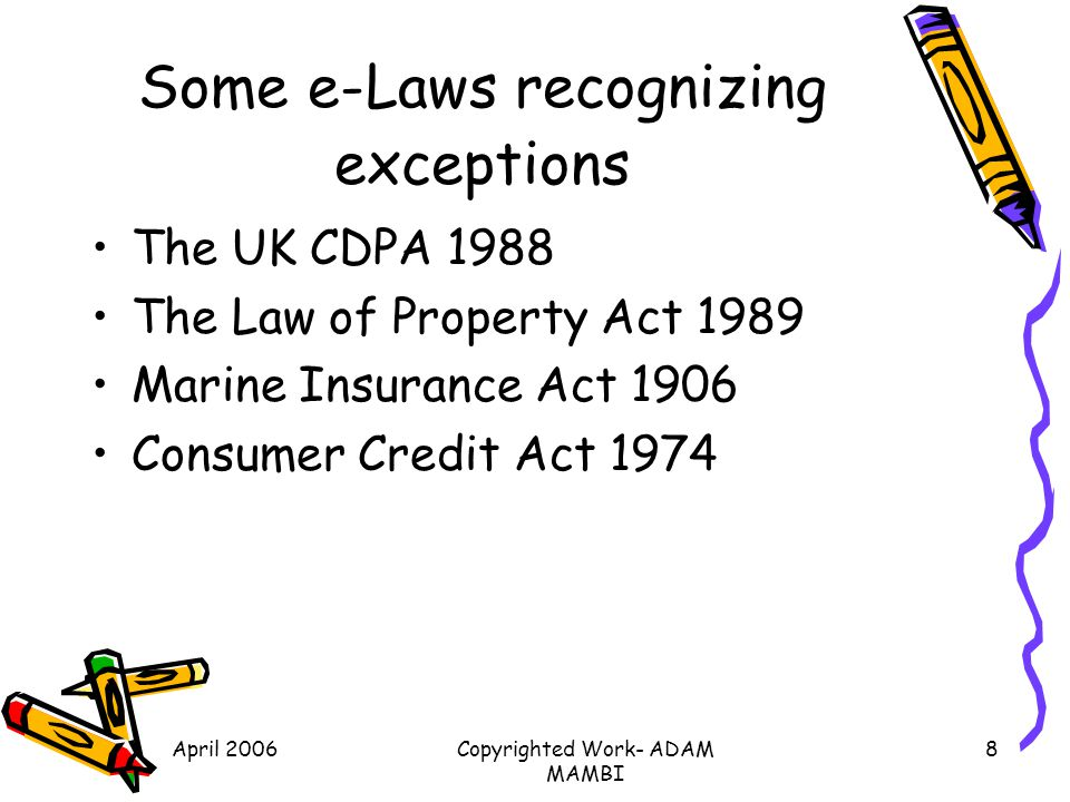 Some e-Laws recognizing exceptions