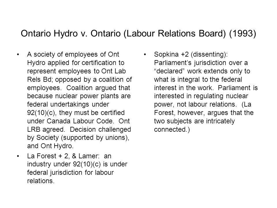 Ontario Hydro v. Ontario (Labour Relations Board) (1993)
