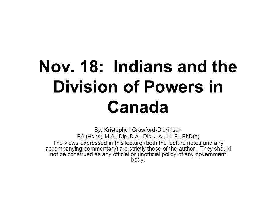 Nov. 18: Indians and the Division of Powers in Canada