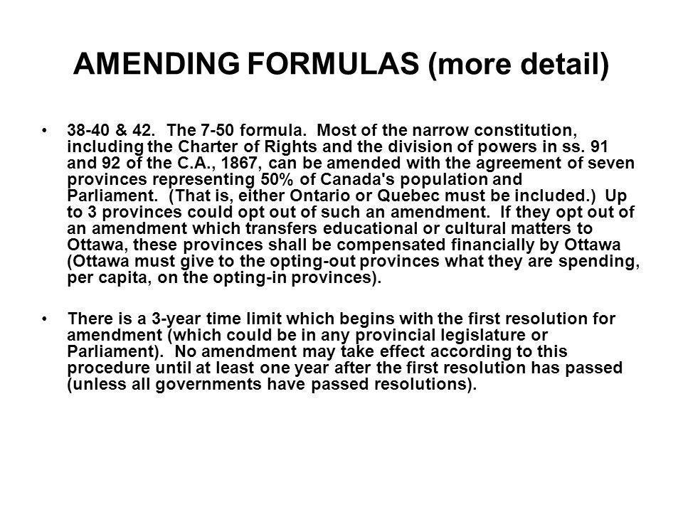 AMENDING FORMULAS (more detail)