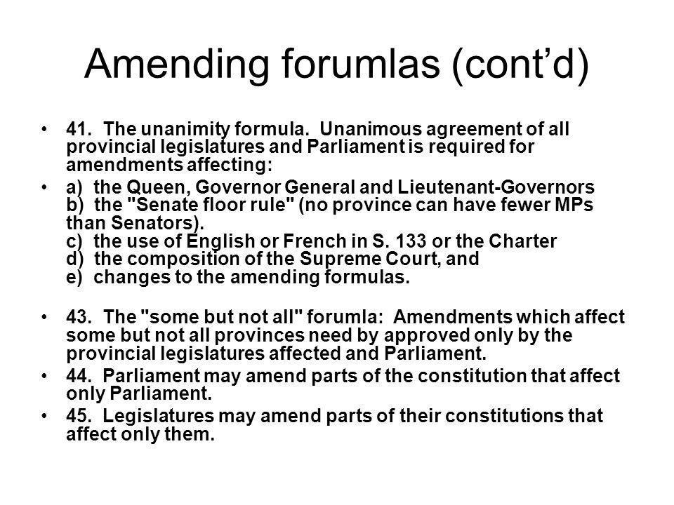 Amending forumlas (cont'd)