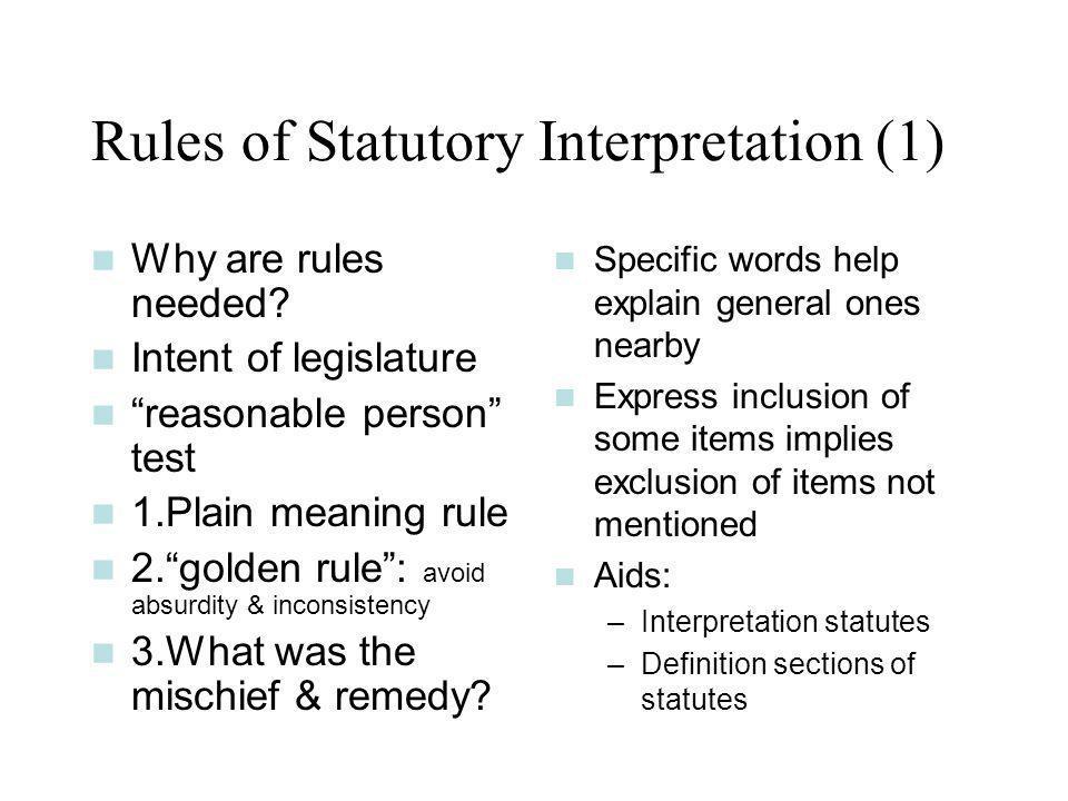Rules of Statutory Interpretation (1)