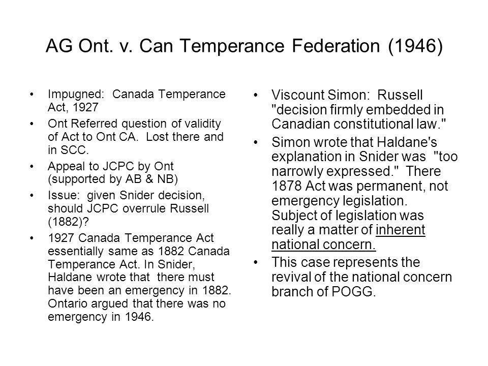 AG Ont. v. Can Temperance Federation (1946)