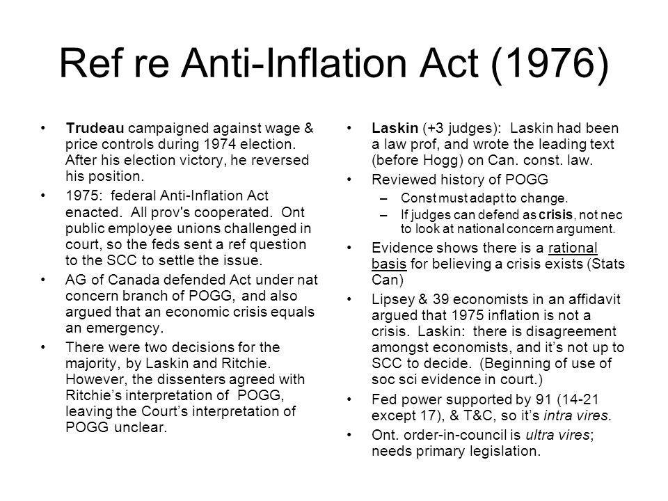 Ref re Anti‑Inflation Act (1976)
