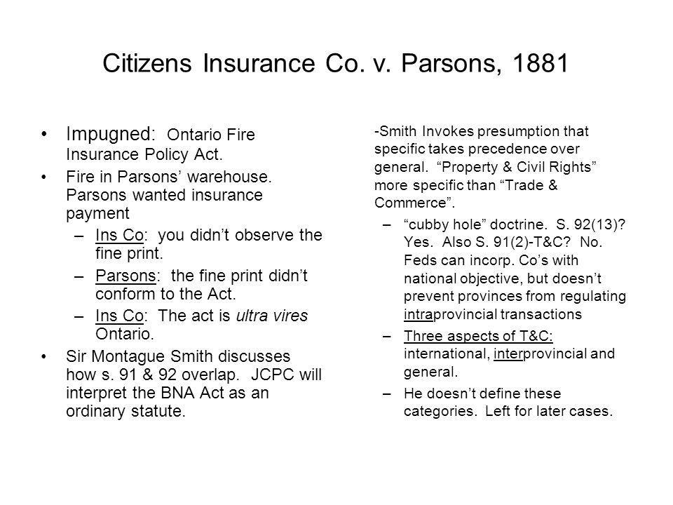 Citizens Insurance Co. v. Parsons, 1881