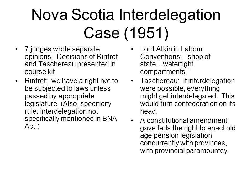 Nova Scotia Interdelegation Case (1951)