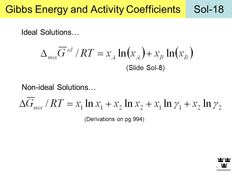 Gibbs Energy and Activity Coefficients