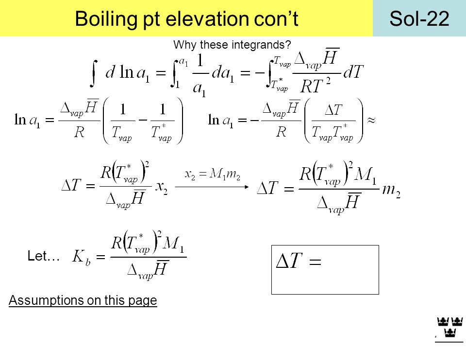 Boiling pt elevation con't