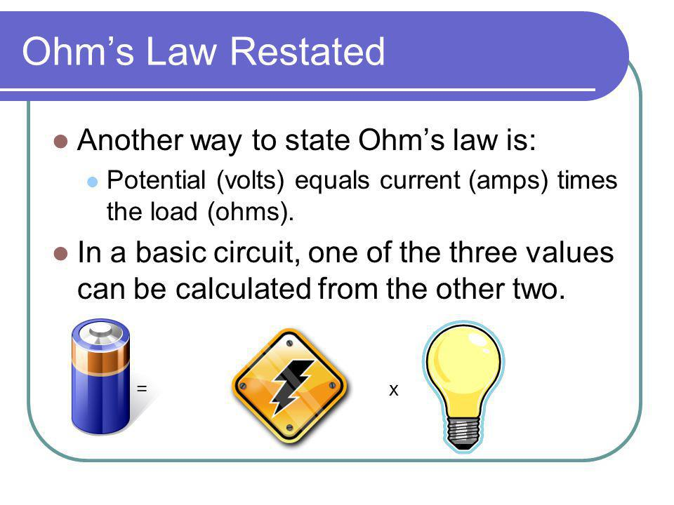 Ohm's Law Restated Another way to state Ohm's law is:
