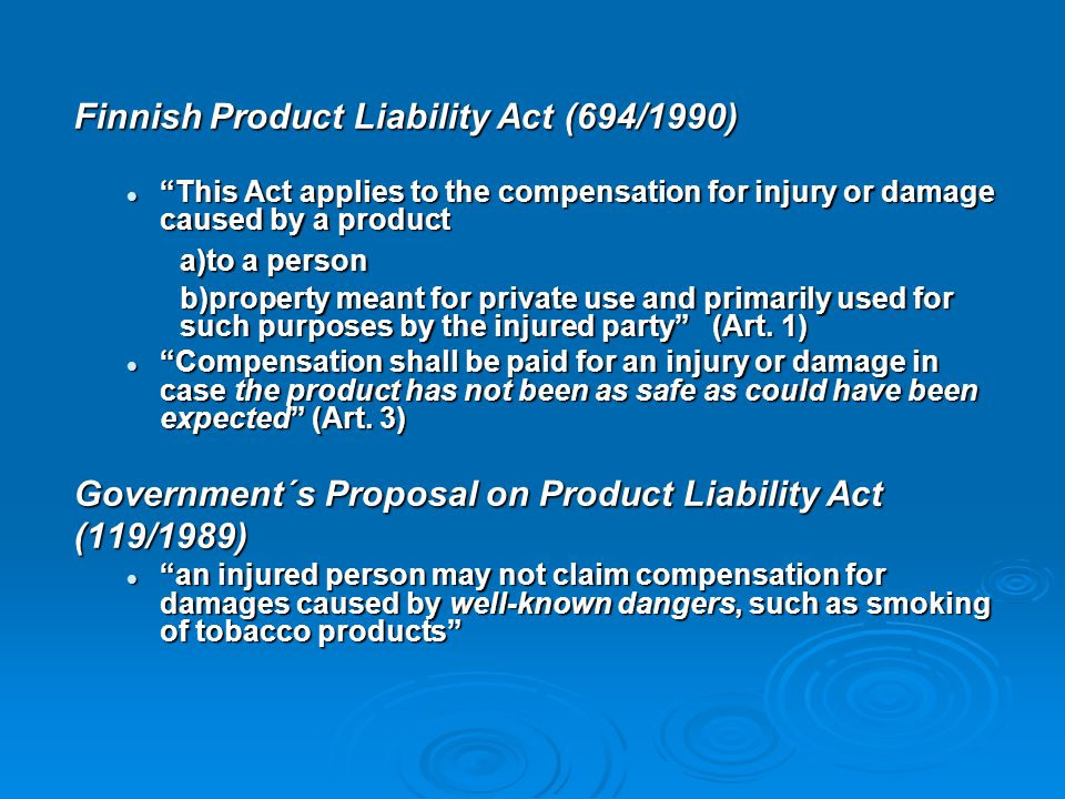 Finnish Product Liability Act (694/1990)