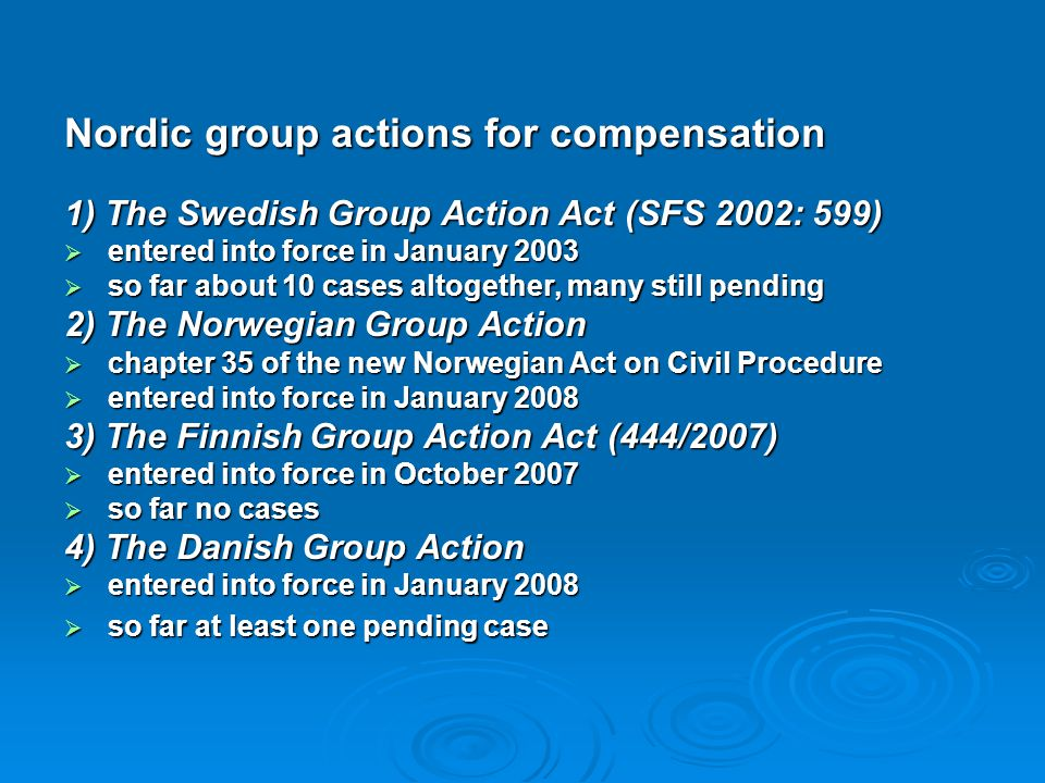 Nordic group actions for compensation