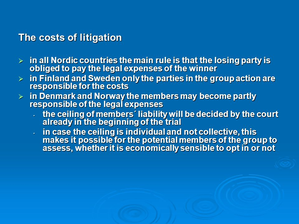 The costs of litigation