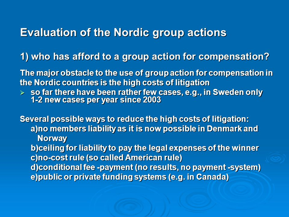 Evaluation of the Nordic group actions
