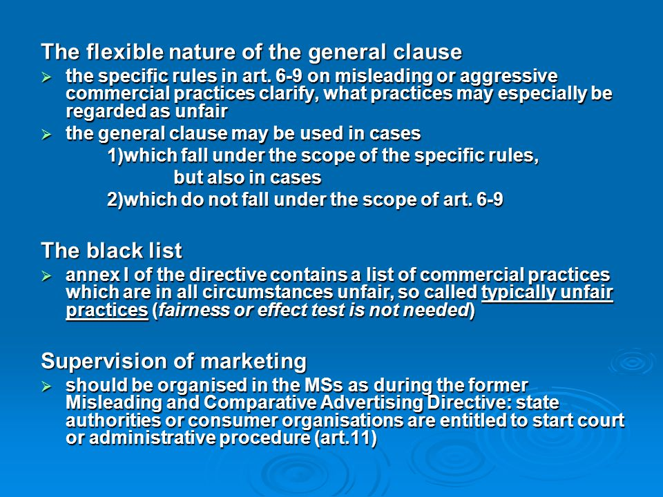 The flexible nature of the general clause