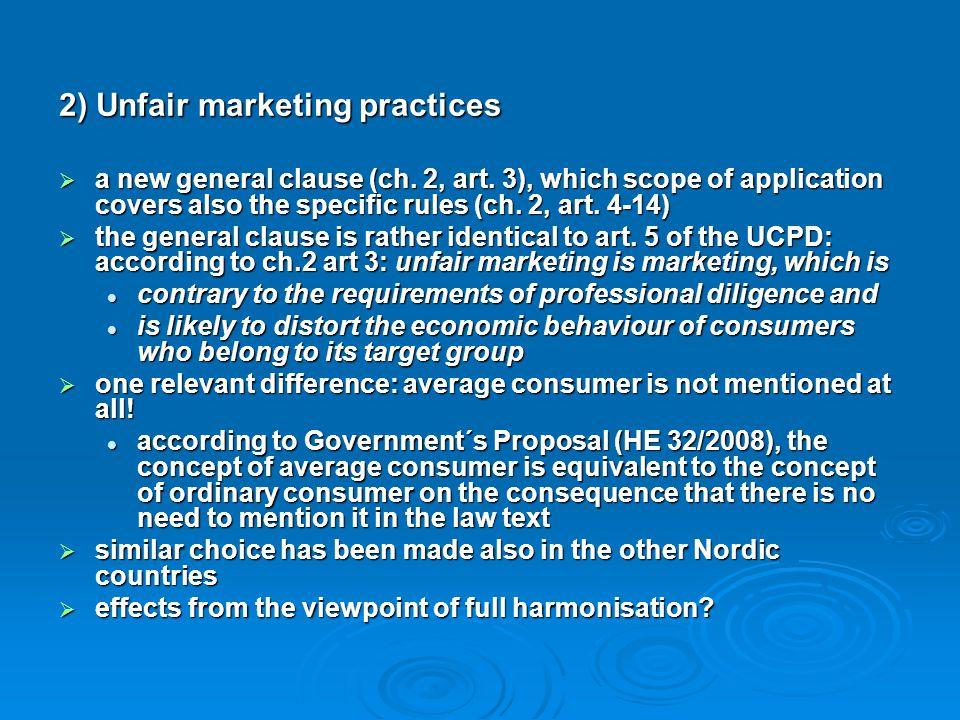 2) Unfair marketing practices