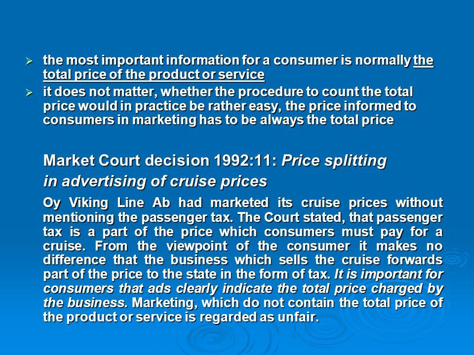 Market Court decision 1992:11: Price splitting