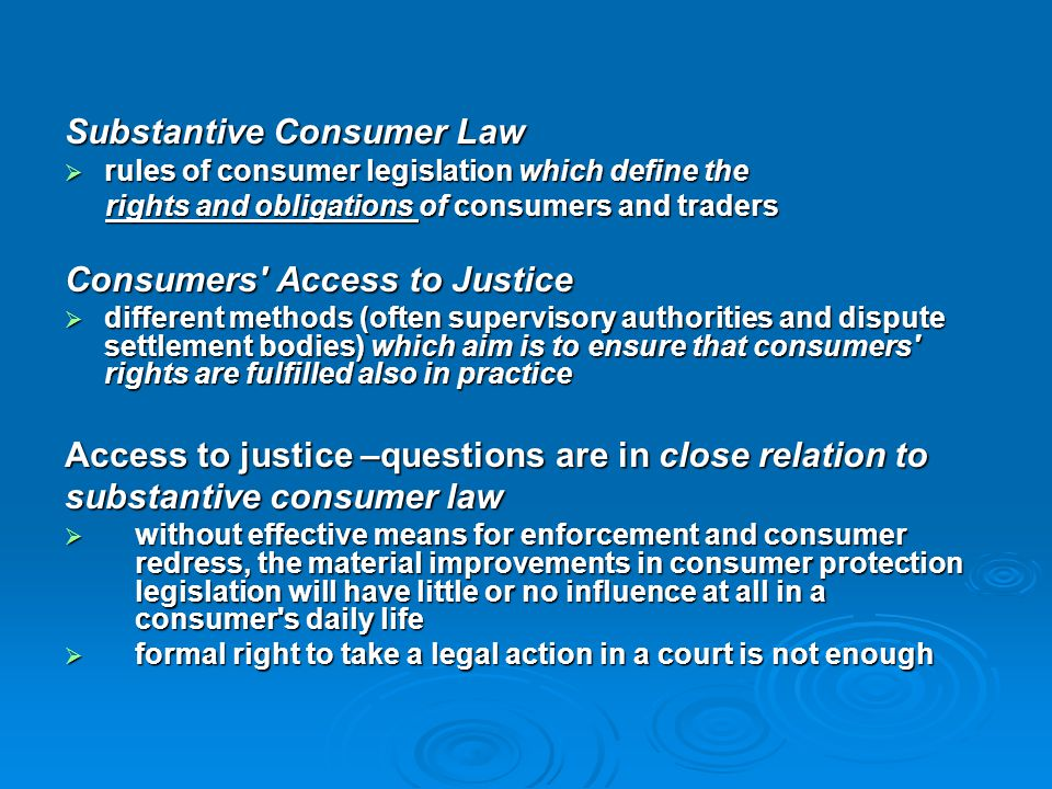 Substantive Consumer Law
