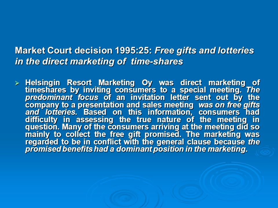 Market Court decision 1995:25: Free gifts and lotteries