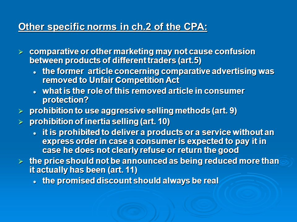 Other specific norms in ch.2 of the CPA: