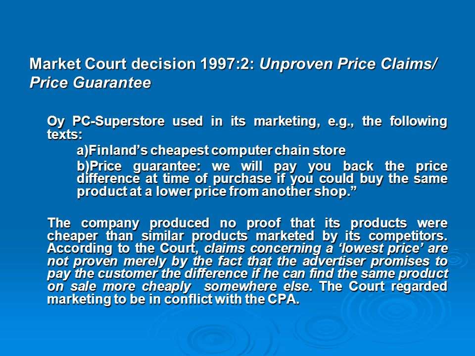 Market Court decision 1997:2: Unproven Price Claims/ Price Guarantee