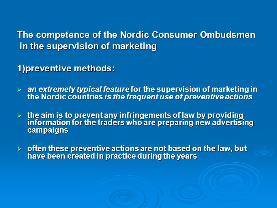 The competence of the Nordic Consumer Ombudsmen
