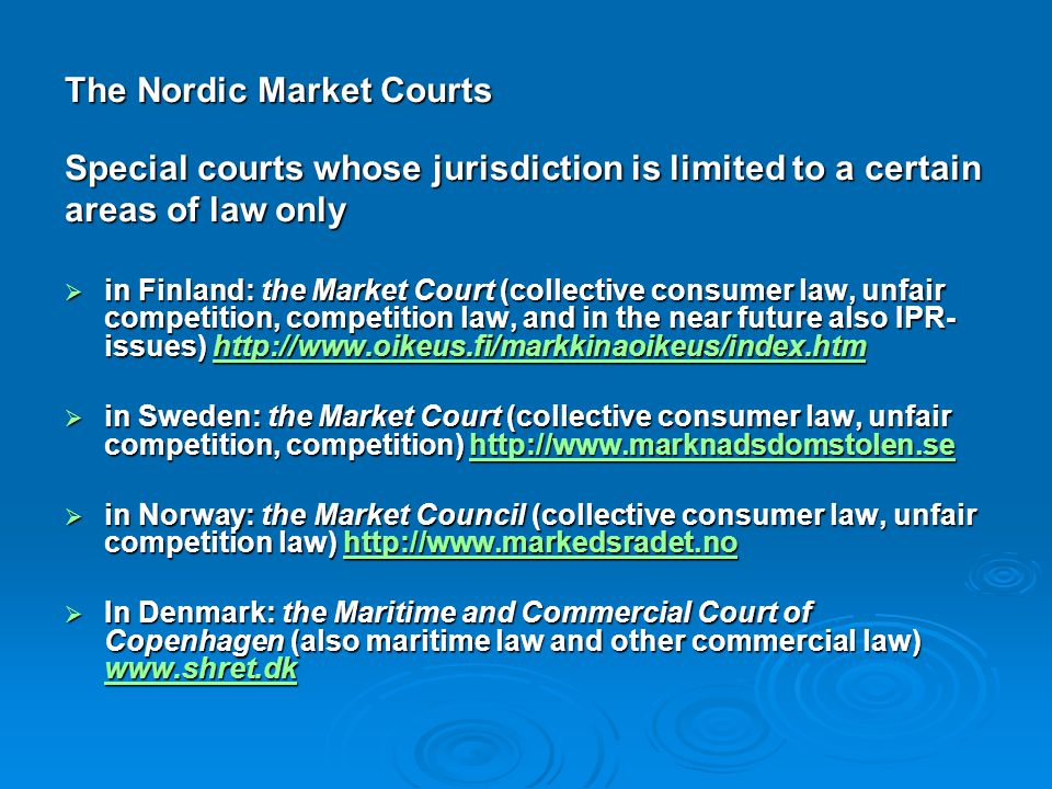 The Nordic Market Courts