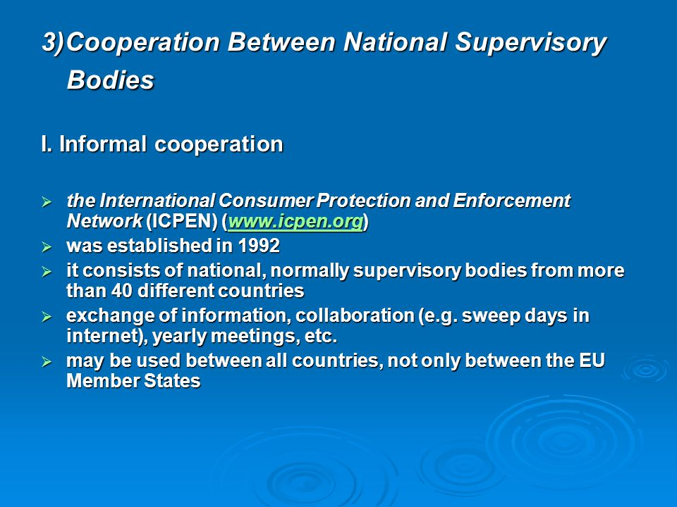 3)Cooperation Between National Supervisory Bodies