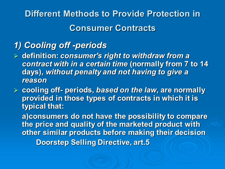 Different Methods to Provide Protection in Consumer Contracts